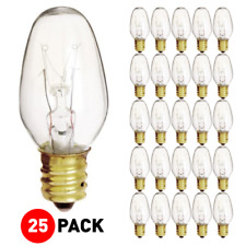 (25 Pack) Night Light Bulb 7C7 7W 120V C7 Incandescent Candelabra E12 Base Clear