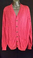 Cotton Traders Pink Cardigan Cable Button Chunky/Knit/Grandad/Large/Ladies/NEW