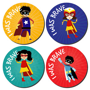 144 I Was Brave Stickers Super Hero Bravery Award kids nurses doctors schools