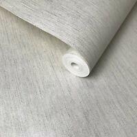 Portofino modern non-woven Wallpaper off white silver stria lines Metallic Plain