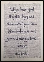 Roald Dahl Quote Print Vintage Dictionary Page Wall Art Picture The Twits Quirky