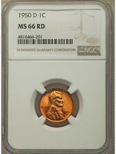 1950 D Lincoln Cent NGC MS66 RD (66201)