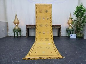 "Moroccan Handmade Cactus Silk Runner Rug 2'2""x9' Sabra Abstract Faded Yellow Rug"