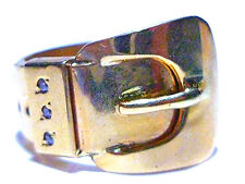 ANTIQUE OLD VINTAGE 10K YELLOW GOLD LARGE WIDE DIAMOND BELT BUCKLE RING BAND