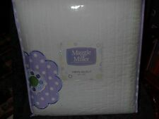 "MAGGIE MILLER 100% COTTON TWIN QUILT-NEW-68"" X 86"" WHITE/PURPLE/FLORAL"