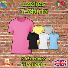 Fruit of the Loom Cotton Plain Blank Ladies Womens Fitted Tee Shirt T-Shirt New