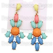 FACETED jewelled MULTI blue RHINESTONE chandelier EARRINGS drop GIFT BAG