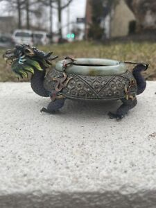 Wonderful Antiques Chinese Export Silver Dragon Turtle Jade
