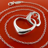 Necklace Chain 925 Sterling Silver S/F Real Solid ladies Heart Pendant Design