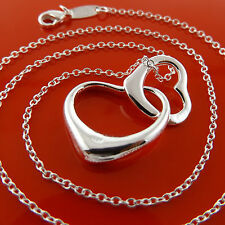 NECKLACE CHAIN GENUINE REAL 925 STERLING SILVER S/F DOUBLE HEART PENDANT DESIGN