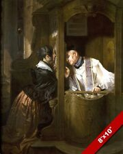 LA CONFESSION CATHOLIC PRIEST PAINTING MOLTENI ART 8X10 REAL CANVAS GICLEE PRINT