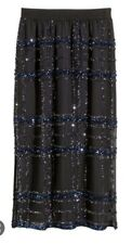 H&M black sequined midi skirt sz 4 S NWT