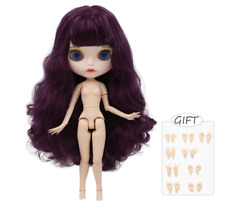 Long Cherry Purple Hair ICY Blythe doll white joint body 1/6 BJD 4 Changing Eyes