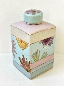 Parlane Crackle Glaze Oriental Floral Ginger Jar Blue Pink Peony Chrysanthemum