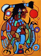 Norval Morrisseau Hand Numbered Edition Man To Thunderbird 4  Mounted Canvas COA