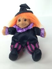 "Russ Witch Troll Doll Soft Body Plush 8"" Orange Hair Black Purple Outfit # 3857"