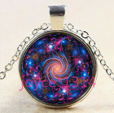 Vintage spiral galaxy Cabochon Tibetan silver Glass Chain Pendant Necklace #3670