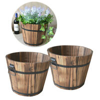 2x Wooden Bucket Barrel Planters, Rustic Patio Planters Flower Pots Garden Decor