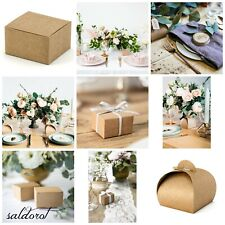 1-50 NATURAL ECO Brown Gift Boxes Wedding Favour Sweets Cake Chocolate Present