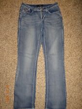 CATO Premium Size 8 Straight Leg Jeans Exposed Stitching Med Wash FREE SHIPPING