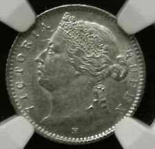 NGC MS 61 Straits Settlements silver coin 1879H 10 cents UNC Q Victoria
