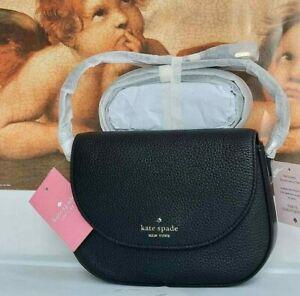 NWT Kate Spade Black Leila Mini Flap Leather Crossbody in Black