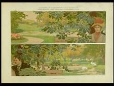 FRISE PAYSAGE, G. STURM -1903- LITHOGRAPHIE, ART NOUVEAU