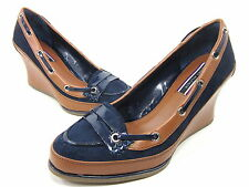 TOMMY HILFIGER, CAMILLE WEDGE SANDAL, WOMENS, NAVY, US 9.5M, EURO 39, NEW IN BOX