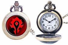 World of Warcraft Horde Logo Bronze Finish Pendant Pocket Watch