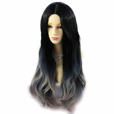 Wiwigs Long Wavy Dip-Dye Ombre Ladies Wig Black Brown & Grey