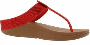FitFlop Isabelle Crystal Toe Post Sandal RED 8 NEW 691-176