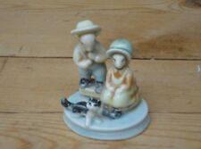 Vintage German Porcelain Figurine Mouse Couple In Hats With Cat Collectable