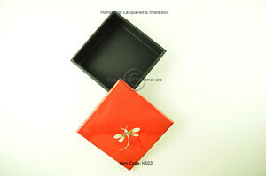 Decorative Handmade Lacquered Inlaid Wooden Square Box, Red Black Large H022L