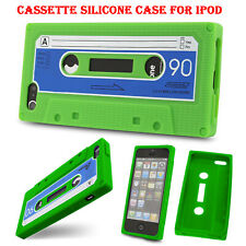 Silicone Retro Tape Cassette Cover Case for Apple iPod Touch 4 4G 4th Gen Green.