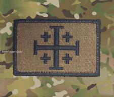 Jerusalem Cross Coyote Tan Burnt Bronze Morale Patch Infidel  FOUR PACK