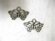 NEW TRIBAL INK SCROLL BUTTERFLY FULL PEWTER PENDANT SIZE PAIR OF METAL EARRINGS