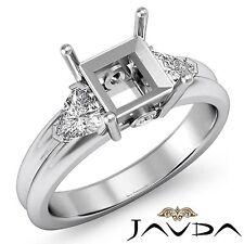 3Stone Fine Diamond Trillion Princess Mount Engagement Ring 18k White Gold 0.6Ct