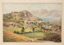 c1850 Aquarell Stadtansicht Böhmen? Sachsen?