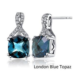 2 Ct London Blue Topaz 7x5mm Oval Diamond Stud Earrings 18K White Gold  Plated