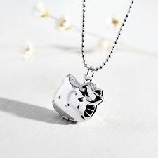 Sario Hello Kitty silver plated + Clear cubic Locket pendant necklace NEW
