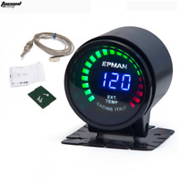 "Racing 2"" 52mm Smoked Digital Color Analog LED Exhaust Gas Temperature EXT Gauge"