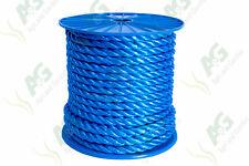 14MM x 50 mètres multifilaments polypropylène bleu câble sur bobine
