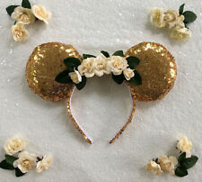 Floral Sequin Gold Minnie Mouse Mickey Mouse Ears Headband Disneyland World