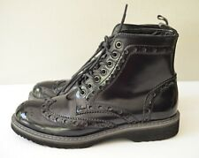 GBX Mens 8M 134321 Black Patent Wing Tip Brogue Boots