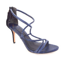 BRIAN ATWOOD Size 10 STEFANIA Blue Snake Zip Back Sandals Heels Shoes