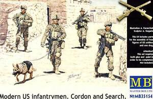 MB Masterbox - Modern US Infantry Dog Cordon And Search Figurines 1:3 5 Iraw