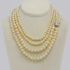 """1930s Pearl Necklace 36"""" Long Diamond Clasp Vintage Double Strand Pearl Necklace"""