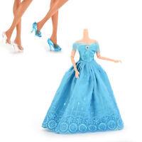 Robe de robe princesse et 2 paires de chaussures en cristal pour Barbie Doll Nx