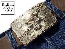 Skull Totenkopf rosé gold biker Gürtelschnalle Wechselschnalle buckle 4cm