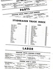 1949 1950 1951 1952 1953 1954 1955 1956 STUDEBAKER TRUCK PART CRASH LABOR SHEETS